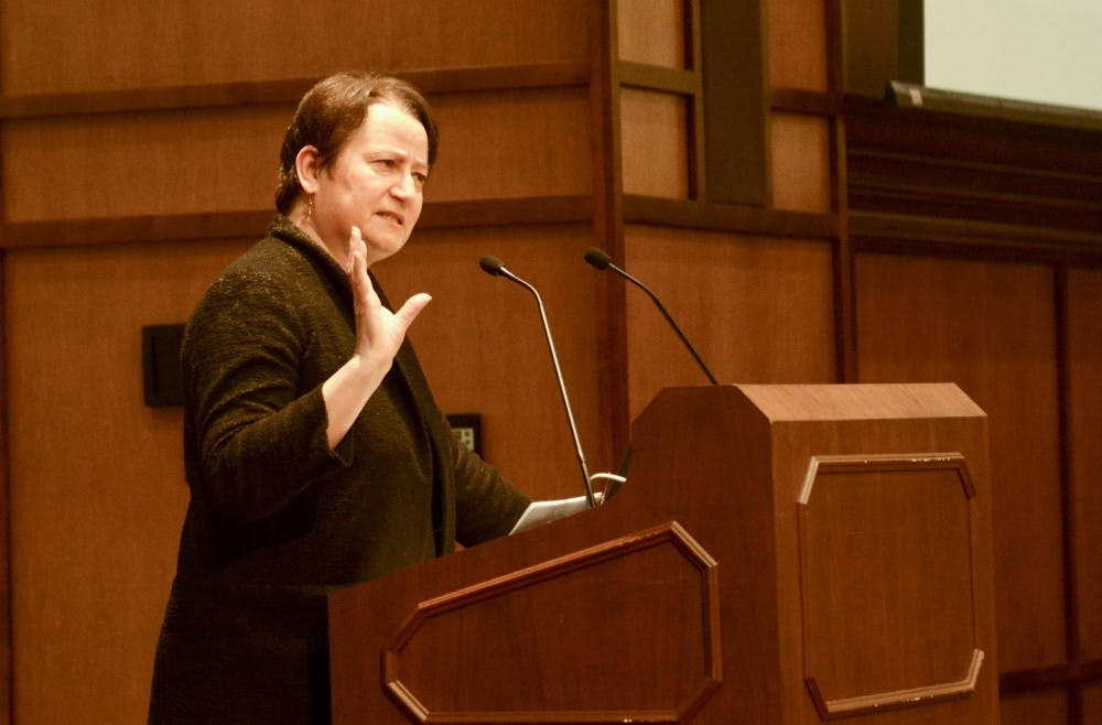 """LaurenRobel, the provost and executivevice presidentofIndiana University, leads the interactive workshop titled """"Fake or Fact? The Search for Real News in 2017"""" Thursday evening at Franklin Hall. """"Fake or Fact"""" was part of the office'sHot Topics series."""