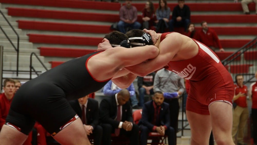 IU wrestles against Maryland on Jan. 13 in Wilkinson Hall. IU will face Penn State on Jan. 27.
