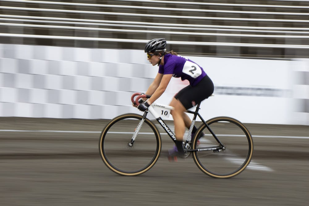 <p>Sophomore Clare Bruen races on the track during the Women&#x27;s Little 500 race Wednesday at Bill Armstrong Stadium.</p>