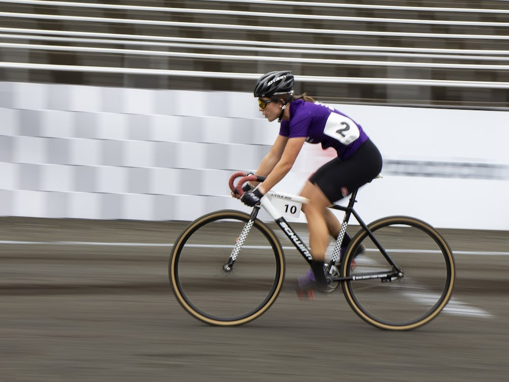 Sophomore Clare Bruen races on the track during the Women's Little 500 race Wednesday at Bill Armstrong Stadium.