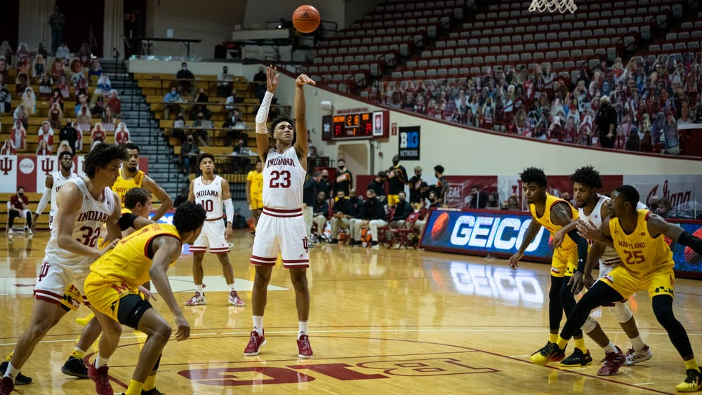 Sophomore forward Trayce Jackson-Davis shoots a free throw Jan. 4 at Simon Skjodt Assembly Hall. Jackson-Davis finished the game with 22 points and 15 rebounds.