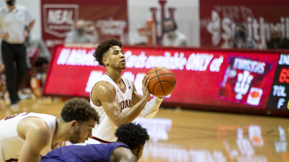 Junior guard Rob Phinisee prepares for a free throw during the final 30 seconds of the Hoosiers' match against Northwestern on Dec 23. at Simon Skjodt Assembly Hall. Two of Phinisee's four points came from the free throws.