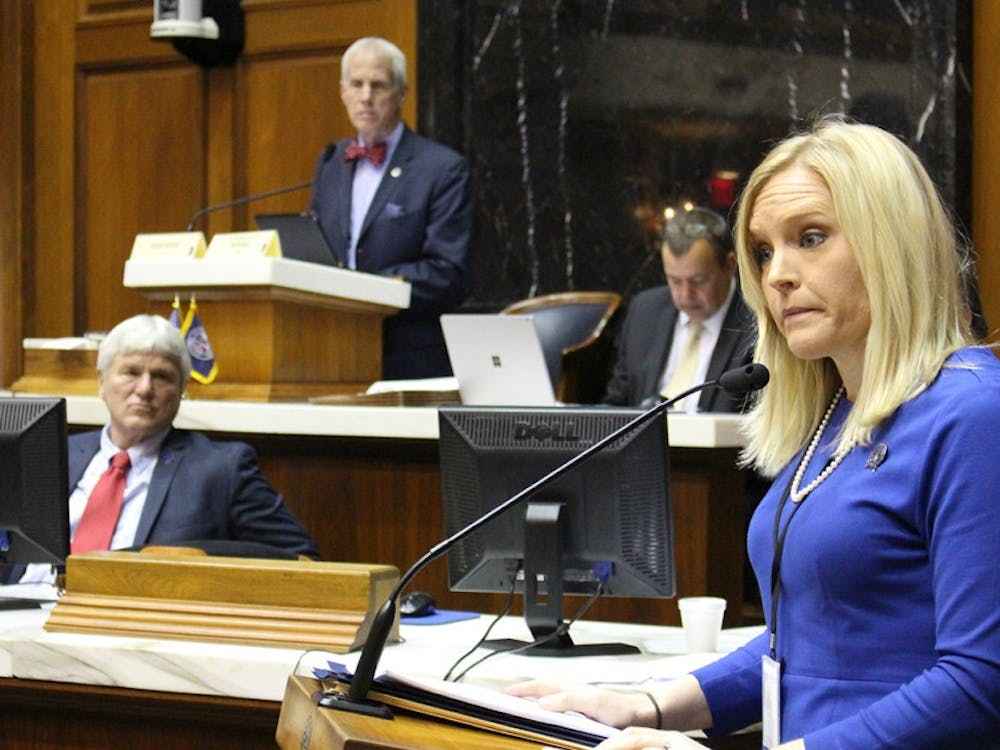 Sen. Erin Houchin, R-Salem, testifies Tuesday morning. Houchin is one author on SB 407, which would require information regarding the percentage of teachers who participate in their school district's union to be published on the IEERB website.
