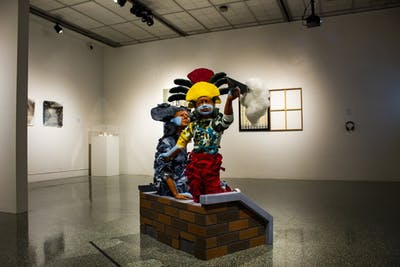 A sculpture is seen on display Oct. 16 at the Grunwald Gallery. The gallery is located on the first floor of the Eskenazi School of Art, Architecture + Design.