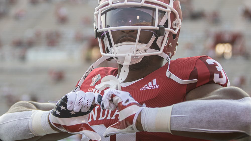 Senior defensive back Bryant Fitzgerald holds his hands in the shape of a heart prior to Indiana's football game against Idaho on Sept. 11, 2021, at Memorial Stadium. Indiana has a 2-3 record heading into its homecoming game against Michigan State.