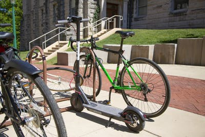 A Bird scooter parked Sept. 14 outside Franklin Hall. The dockless scooter-share program recently became available in Bloomington.
