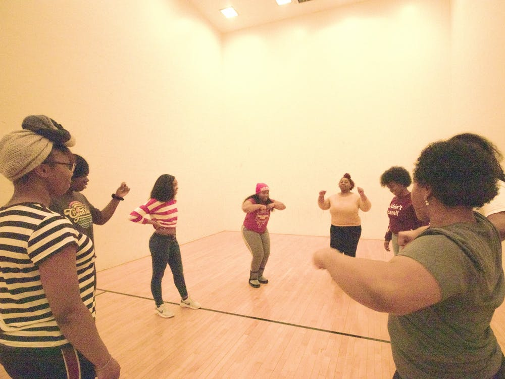 The first step team at IU, L.E.G.A.C.Y practices Feb. 16 at the Intramural Center Racquetball Courts. Their next showcase performance is 6 p.m. March 7 at Willkie Auditorium.