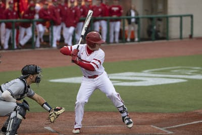 Sophomore infielder Cole Barr prepares to bat Feb. 27 at Bart Kaufman Field. IU beat Butler University, 9-3.