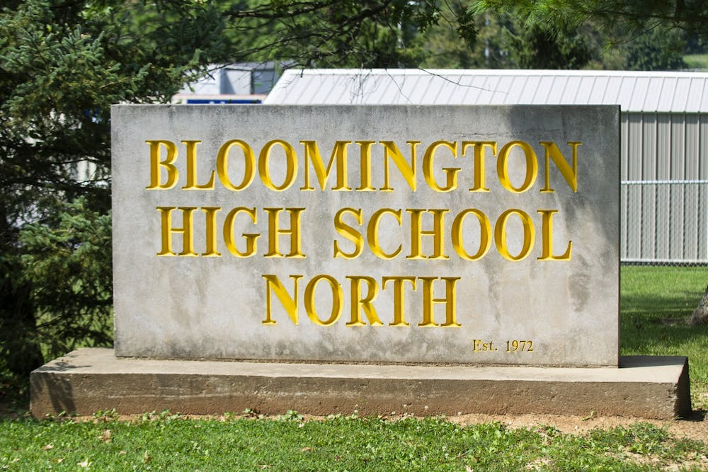 <p>The sign sits Aug. 26 at the entrance to Bloomington High School North. The Monroe County Community School Corporation school board voted to allow in-person instruction for K-12 students starting Sept. 8.</p>