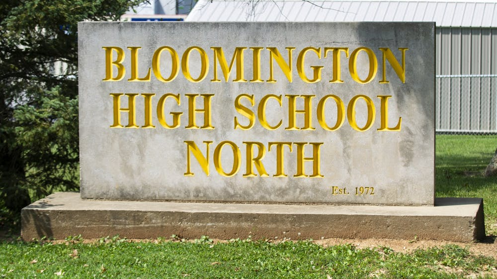 The sign sits Aug. 26 at the entrance to Bloomington High School North. The Monroe County Community School Corporation school board voted to allow in-person instruction for K-12 students starting Sept. 8.