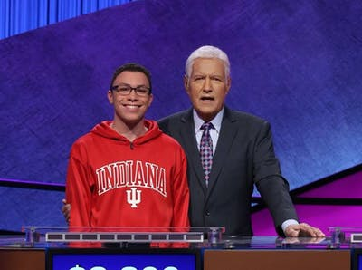 "Senior Tyler Combs poses with ""Jeopardy!"" host Alex Trebek. Combs will appear on the ""Jeopardy!"" College Championship on Friday."