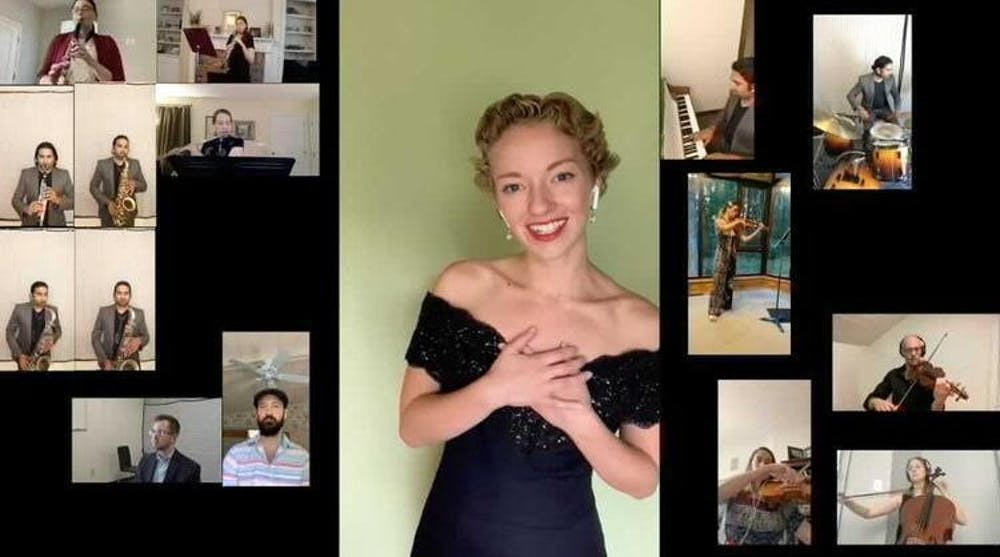 <p>Senior Caroline Goodwin performs &quot;Someone to Watch Over Me&quot; virtually with a group of friends July 13, 2020. Goodwin and other Jacobs School of Music students have had to adapt due to restrictions caused by COVID-19 that affect where and when they can practice and perform. </p>