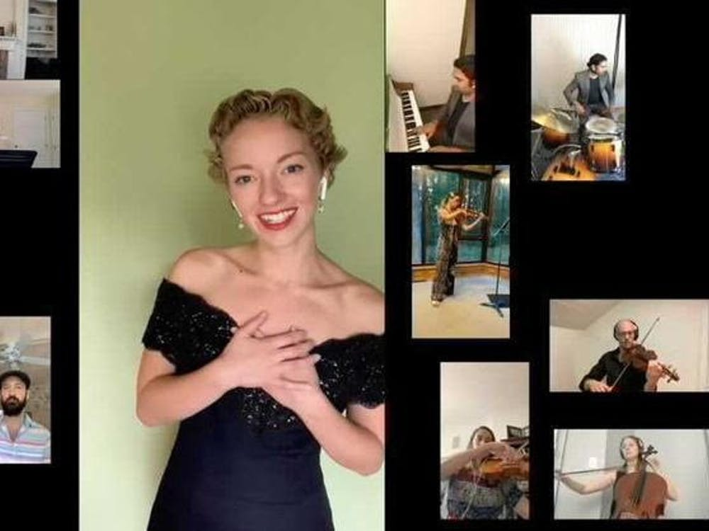 """Senior Caroline Goodwin performs """"Someone to Watch Over Me"""" virtually with a group of friends July 13, 2020. Goodwin and other Jacobs School of Music students have had to adapt due to restrictions caused by COVID-19 that affect where and when they can practice and perform."""