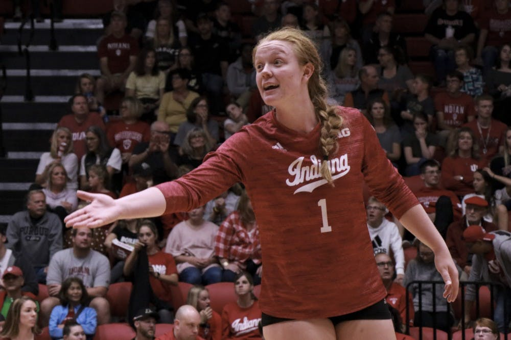 IU setter Victoria Brisack reacts to a play against Purdue Oct. 9 at Wilkinson Hall.