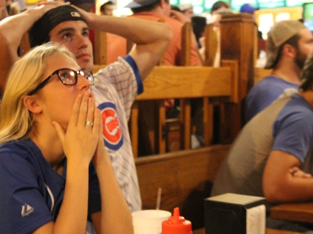 Cubs fans anxiously watch during the ninth inning of Game Seven of the World Series.