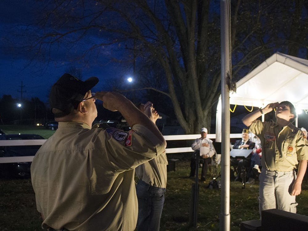 Local boy scouts raise the flag and salute Wednesday evening during the Veteran's Day Ceremony at the Monroe County Fairgrounds.