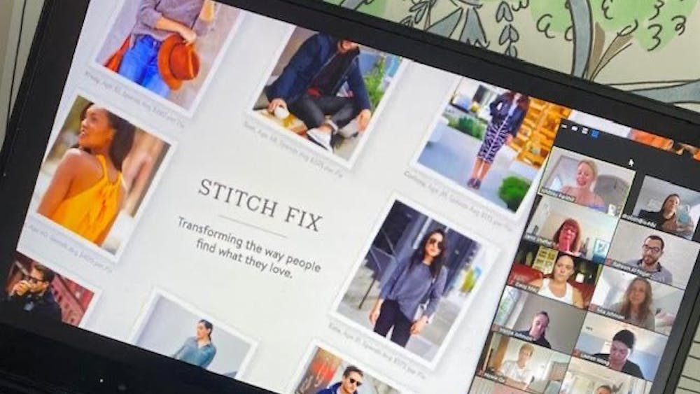 Whitney Parkhill makes a presentation showing how the company Stitch Fix utilizes data for driving decisions. Parkhill is a former IU apparel merchandising student.