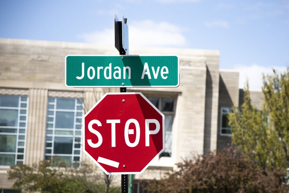 A street sign for Jordan Avenue. The joint task force between the City of Bloomington and IU, convened by Mayor John Hamilton to recommend new names for Jordan Avenue, has completed its report.