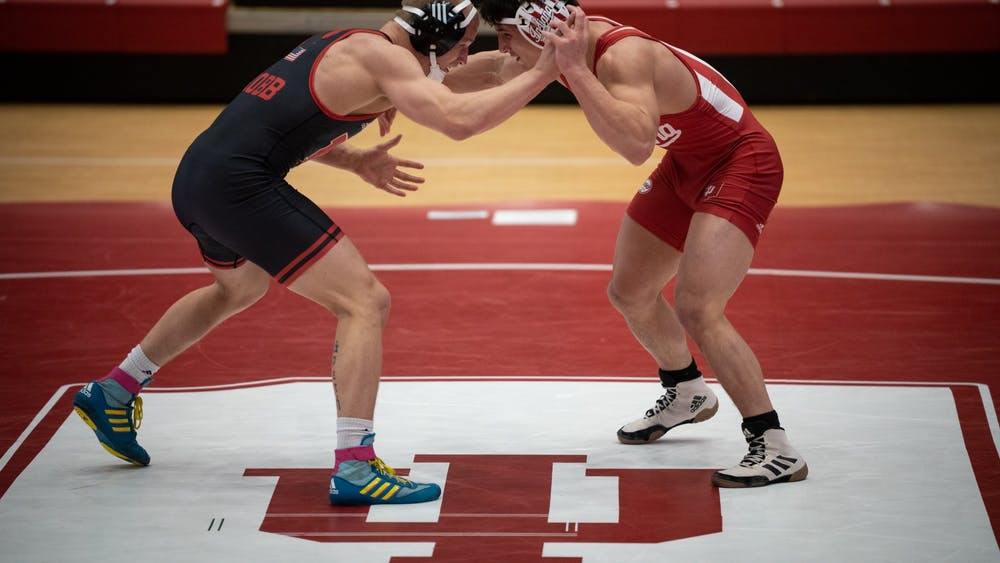 Nick South locks in with his opponent Feb. 6 in Wilkinson Hall. The Hoosiers will take on the Purdue Boilermakers on Monday in West Lafayette, Indiana.
