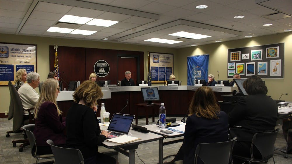 The Monroe County Community School Corporation puts on a board meeting Tuesday night. The school board gave out awards to various students and teachers in the community and discussed concerns of insensitive class materials related to slavery.