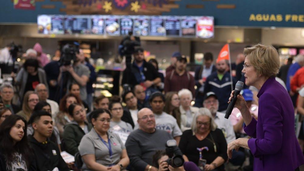 Sen. Elizabeth Warren, D-Mass., speaks Feb. 17 during a Mi Familia Vota event at Cardenas Market in Las Vegas, Nevada.