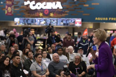 Sen. Elizabeth Warren, D-Mass., speaks Feb. 17 during a Mi Familia Vota event at Cardenas Market in Las Vegas, Nevada.