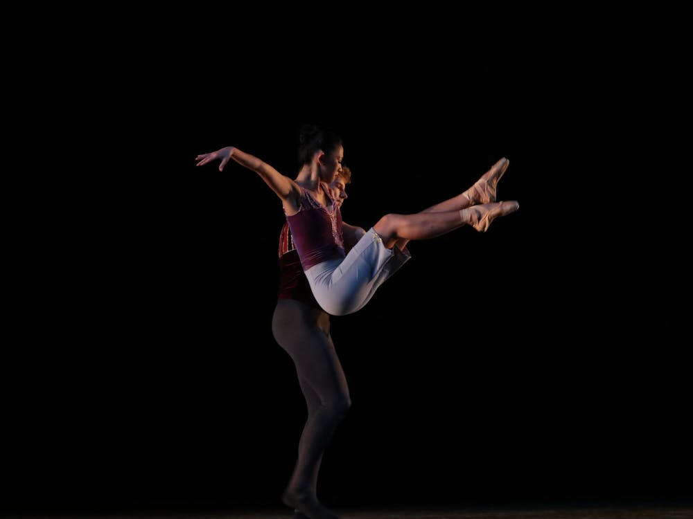 """Two dancers perform during a dress rehearsal of """"A Leap Forward"""" on Sept. 29, 2021, in the Musical Arts Center. The ballet was performed in four parts."""