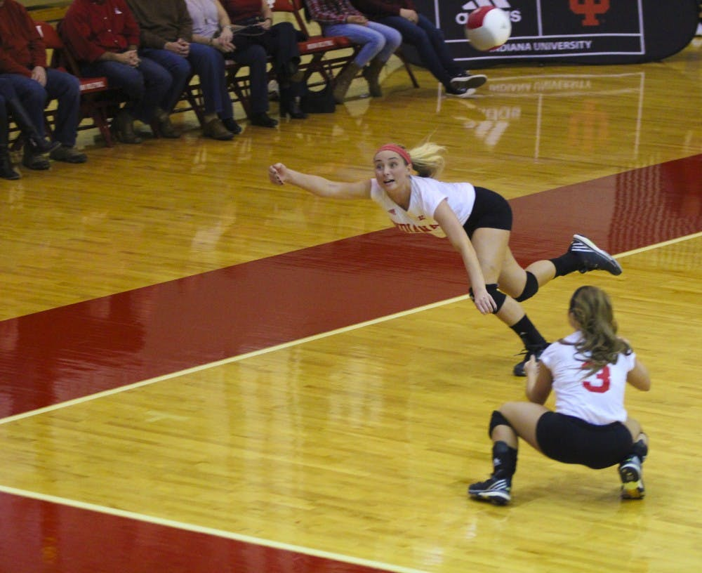 Junior Outside Hitter Taylor Lebo trys to hit the volleyball against No.8 Nebraska on Saturday evening at the University Gym. Hoosiers falls in three sets (25-20, 25-28, 25-20) to No.8 Nebrashka.