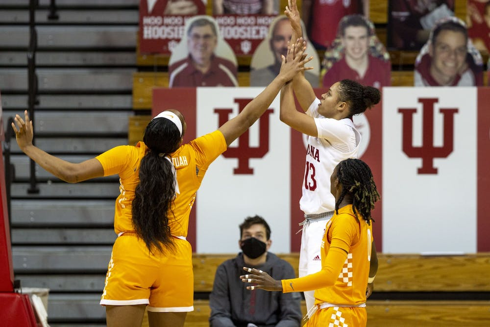 Junior Jaelynn Penn attempts a shot against the University of Tennessee defense Dec. 17 in Simon Skjodt Assembly Hall. No. 15 IU lost 66-58 in the final non-conference game scheduled this season.