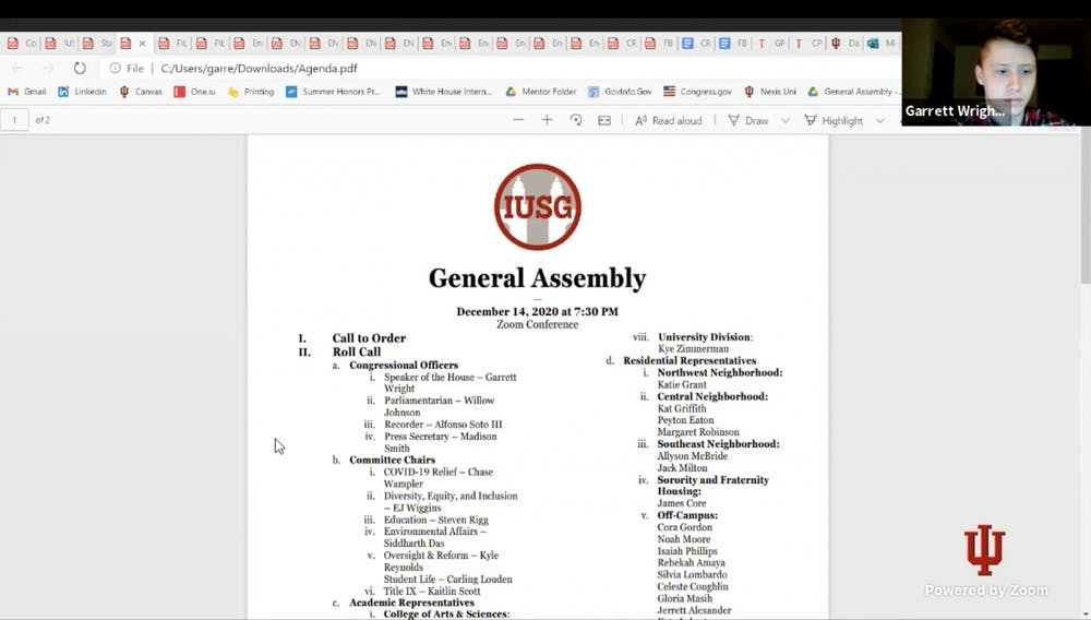 <p>A screenshot from the Nov. 15 IU Student Government meeting. After debate at the last meeting of the semester, IUSG Congress approved a constitutional measure to add a minimum of 31 seats in the body of Congress for different multicultural groups. </p>