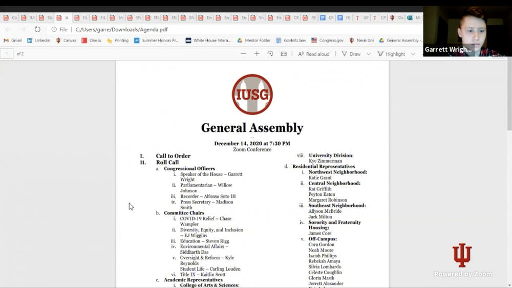 A screenshot from the Nov. 15 IU Student Government meeting. After debate at the last meeting of the semester, IUSG Congress approved a constitutional measure to add a minimum of 31 seats in the body of Congress for different multicultural groups.