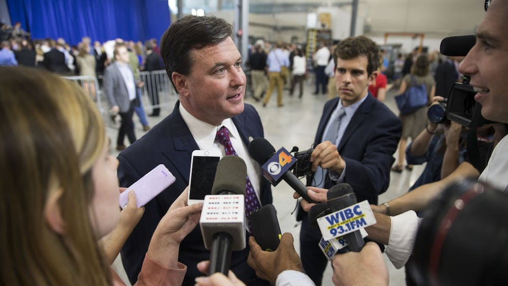 Former representative and Indiana attorney general candidate Todd Rokita speaks with the press after hearing Vice President Mike Pence speak at the Wylam Center of Flagship East on April 19, 2018, in Anderson, Indiana. Rokita tested positive for COVID-19 on Tuesday, Election Day.