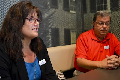 Monroe County Republican Party Chairman William Ellis and Vice Chairman Ann Collins discuss millennial engagement in the upcoming elections Wednesday morning at the east side McDonald's. Ellis and Collins encourage students to vote locally to create a bigger impact on their life and aim to find out the best way to reach millennials by using social media and mobile apps.