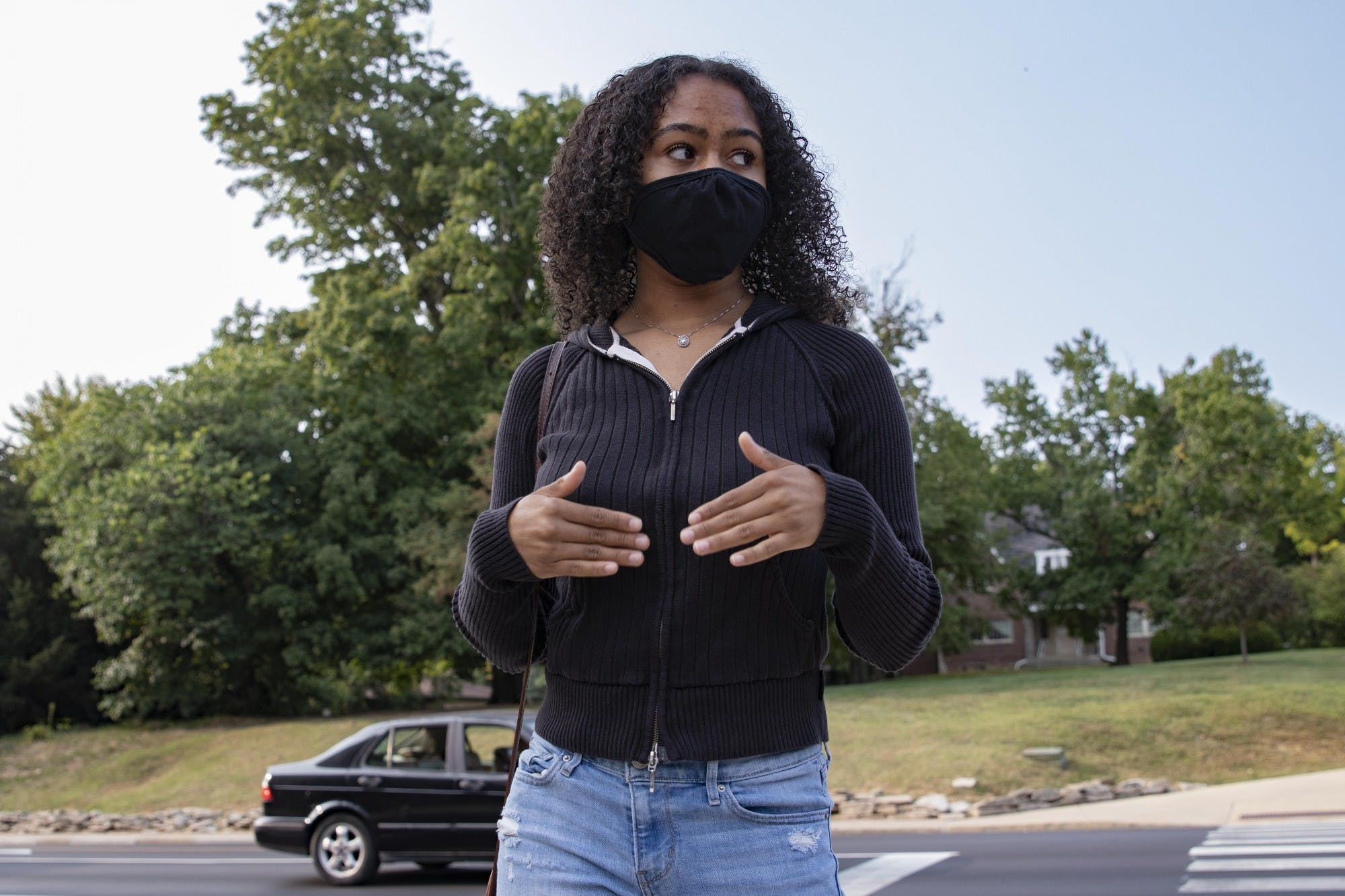 "Junior Alice Aluko describes act of bias she experienced Sept. 15 at the corner of 10th Street and Jordan Avenue in Bloomington. ""They screamed the n-word,"" she said."
