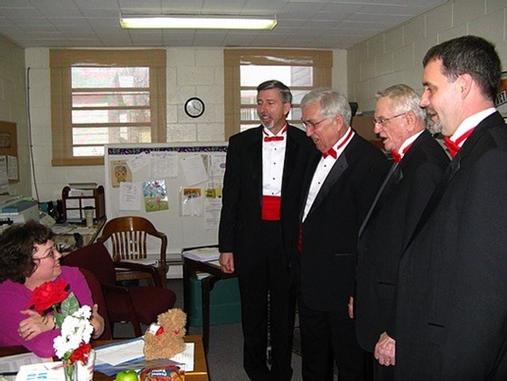 <p>The Sounds of Indiana chorus delivers a Singing Valentine in 2017. Every year, Sounds of Indiana does Singing Valentines and Singing Mother&#x27;s Day-Grams, but this year they conducted them virtually due to COVID-19 pandemic.<br/></p>