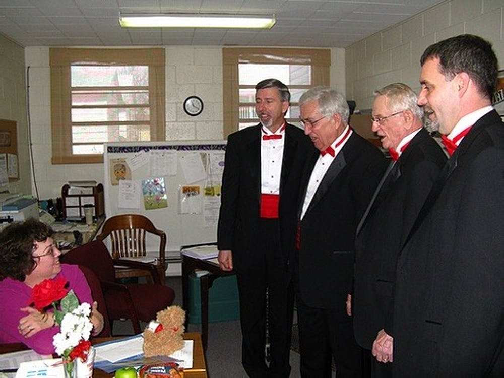 The Sounds of Indiana chorus delivers a Singing Valentine in 2017. Every year, Sounds of Indiana does Singing Valentines and Singing Mother's Day-Grams, but this year they conducted them virtually due to COVID-19 pandemic.