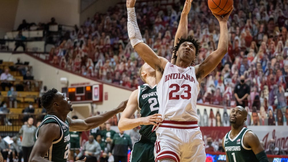 Trayce Jackson-Davis goes in for a 2-point basket Feb. 20 at Simon Skjodt Assembly Hall. IU plays No. 3 Michigan at noon Saturday.