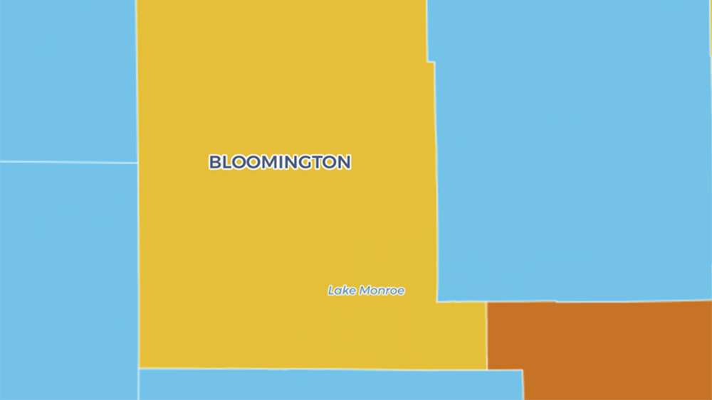 The Indiana Daily Student COVID-19 map shows Bloomington in yellow Wednesday. Monroe County is at a yellow advisory level for the third week in a row.
