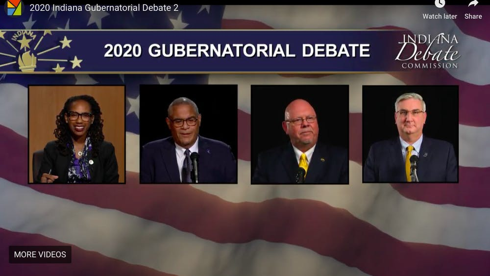 A screen grab from the Indiana Gubernatorial debate Tuesday night.