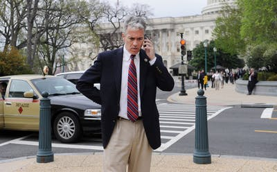 U.S. Rep. Joe Walsh, R-Ill., walks back to his office March 21, 2012, after a vote on Capitol Hill in Washington, D.C. Walsh is challenging President Donald Trump for the republican nomination for president in 2020.