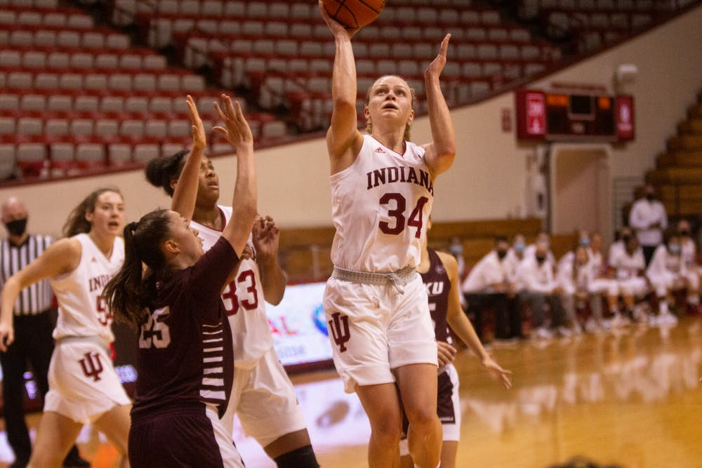 <p>Junior Grace Berger attempts a layup Nov. 25 in the game against Eastern Kentucky at Simon Skjodt Assembly Hall. Berger scored the first triple-double in IU women&#x27;s basketball history as No. 16 IU defeated Eastern Kentucky 100-51. </p>