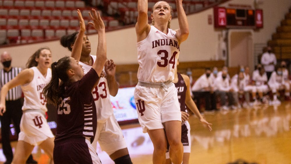 Junior Grace Berger attempts a layup Nov. 25 in the game against Eastern Kentucky at Simon Skjodt Assembly Hall. Berger scored the first triple-double in IU women's basketball history as No. 16 IU defeated Eastern Kentucky 100-51.