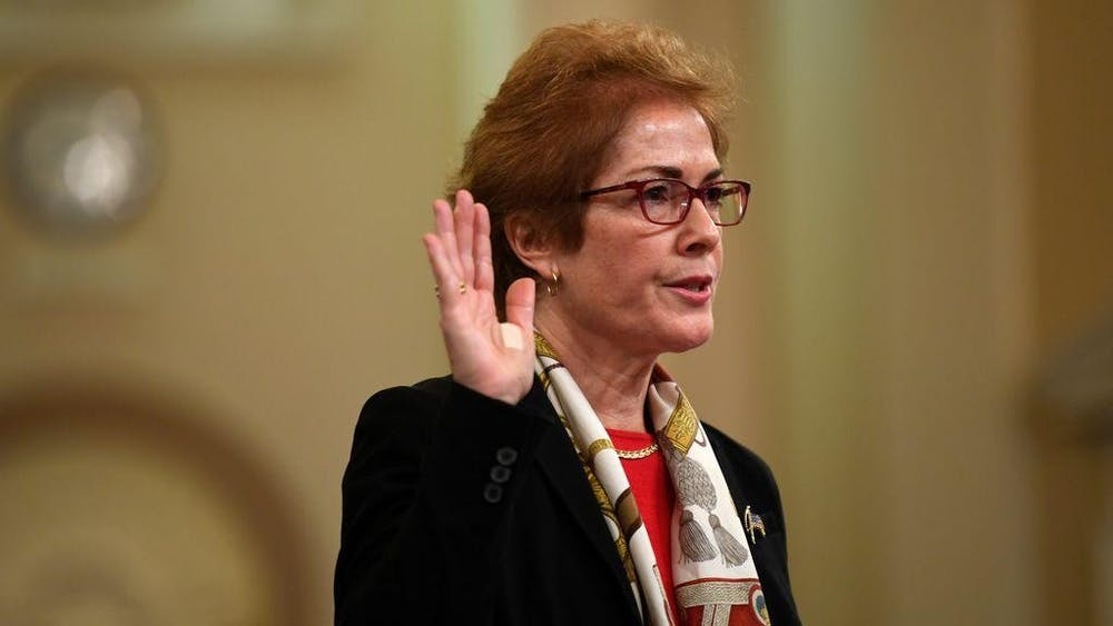 Former U.S. Ambassador to Ukraine Marie Yovanovitch testifies Nov. 15, 2019, during a public hearing on the impeachment inquiry into allegations President Donald Trump pressured Ukraine to investigate his political rivals. Yovanovitch will speak March 6 in the IU Auditorium.