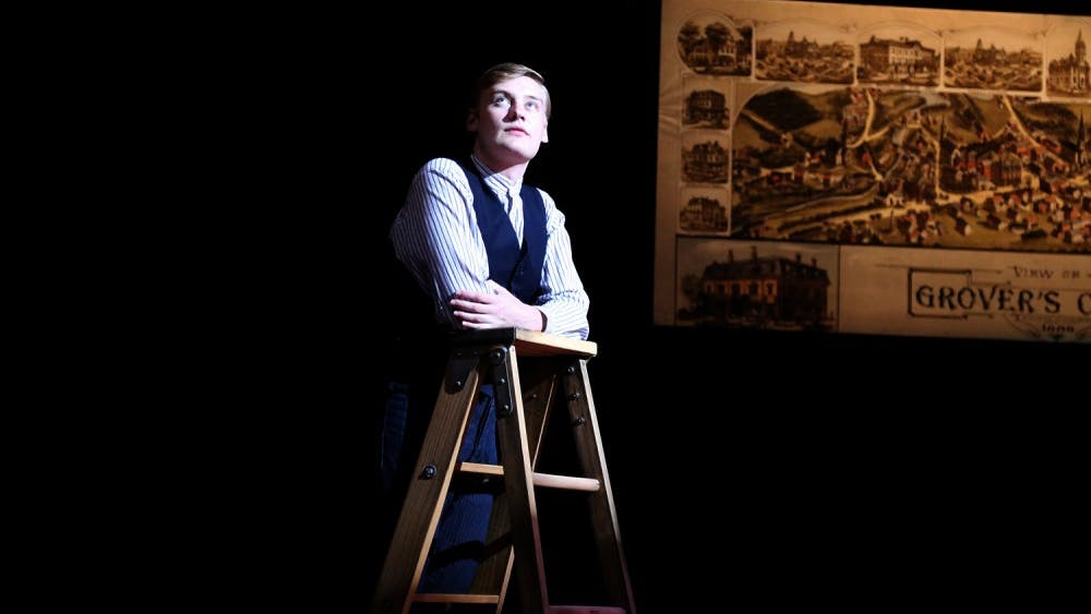 """Michael Bayler, a second-year M.F.A. actor, rehearses as George Gibbs in the 2018 IU Summer Theatre production of """"Our Town."""" The show runs until July 28."""