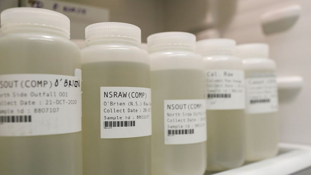 Samples of raw sewage from the city's three treatment plants in storage in a refrigerator at the University of Illinois at Chicago School of Public Health building on Nov. 12, 2020 in Chicago.