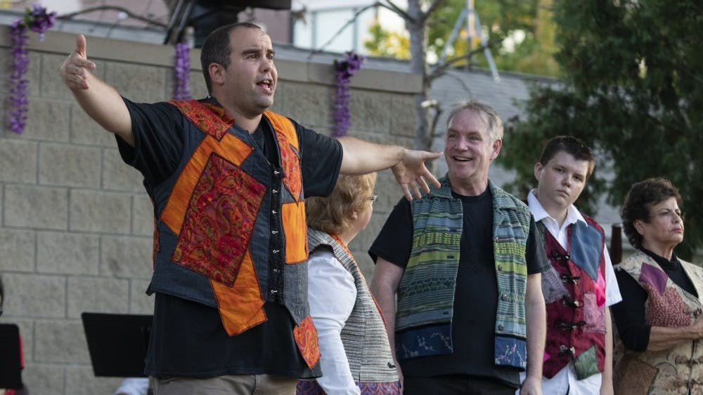 """Actors perform Sept. 12 at Third Street Park. The Monroe County Civic Theater celebrated its 30th anniversary of Shakespeare in the Park by performing """"A Midsummer Night's Dream."""""""