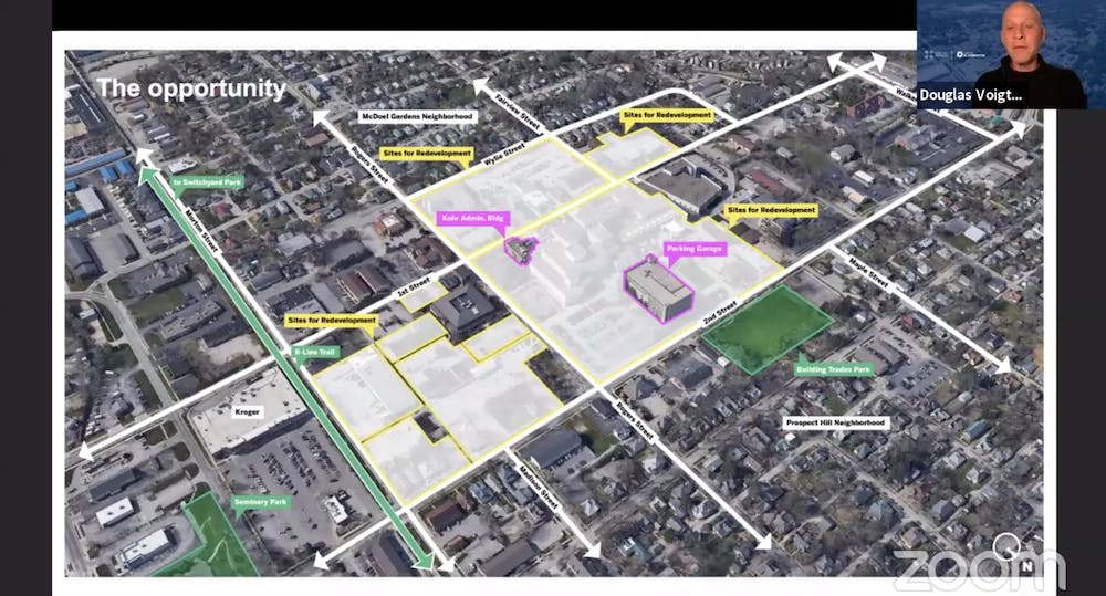 <p>Doug Voigt, designer and planner from Skidmore, Owings &amp; Merrill, discusses the scale of the hospital site project and how it can be used to reflect Bloomington's values during a town hall discussion June 18. The discussion was the first of four that will be held. </p><p><br/><br/><br/></p><p><br/><br/><br/></p>