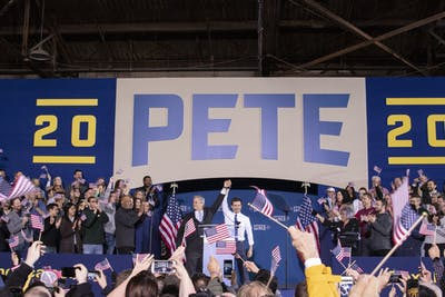 Mayor of Austin, Texas, Steve Adler introduces Pete Buttigieg for his 2020 presidential bid on April 14, 2019, in Studebaker building 84 in South Bend, Indiana. Buttigieg has fallen in the polls in Iowa.