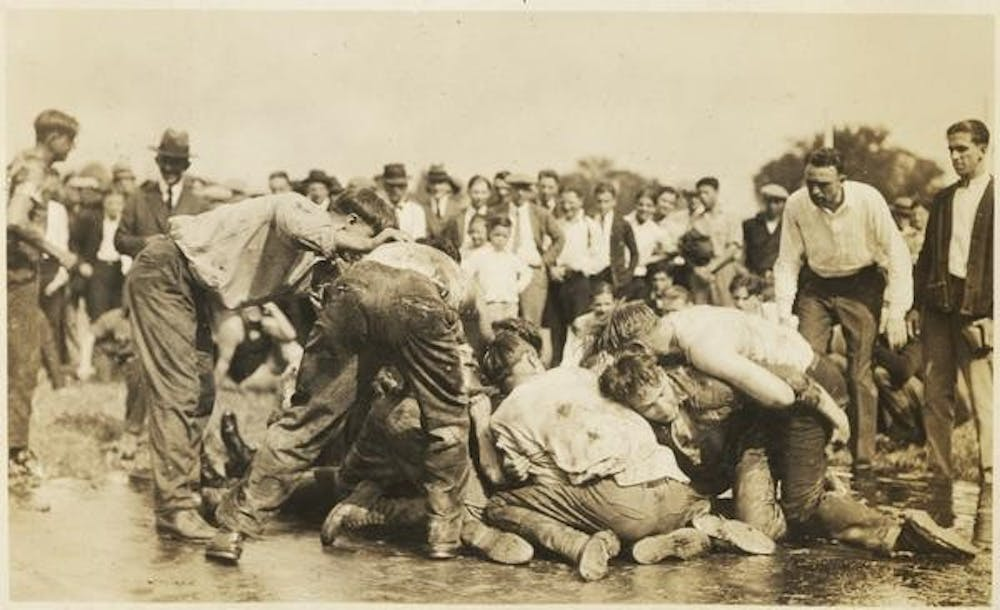 <p>Students participate in class scraps in 1924. Class scraps were a form of intramurals that students took part in starting in the 1820s.</p>