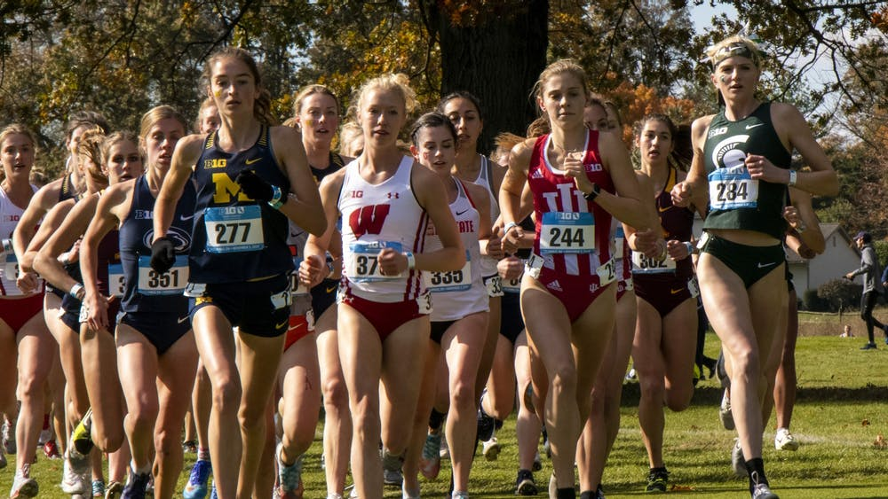 IU sophomore Bailey Hertenstein races ahead Nov. 3 in the Big Ten Championships at Ohio State University Golf Club in Columbus, Ohio. IU's men's and women's cross country teams will compete at the NCAA National Championships this weekend in Terre Haute, Indiana.